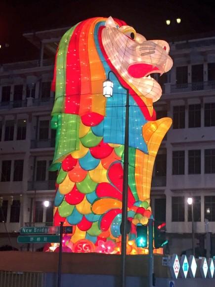 シンガポール チャイナタウン 中秋節 ライトアップ マーライオン